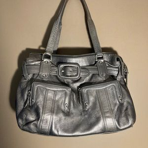 Cole Haan silver metallic leather shoulder bag